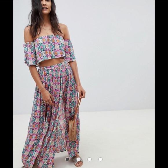 ASOS Dresses & Skirts - ASOS 2pc Print Crop Top & Slit Maxi Skirt Set